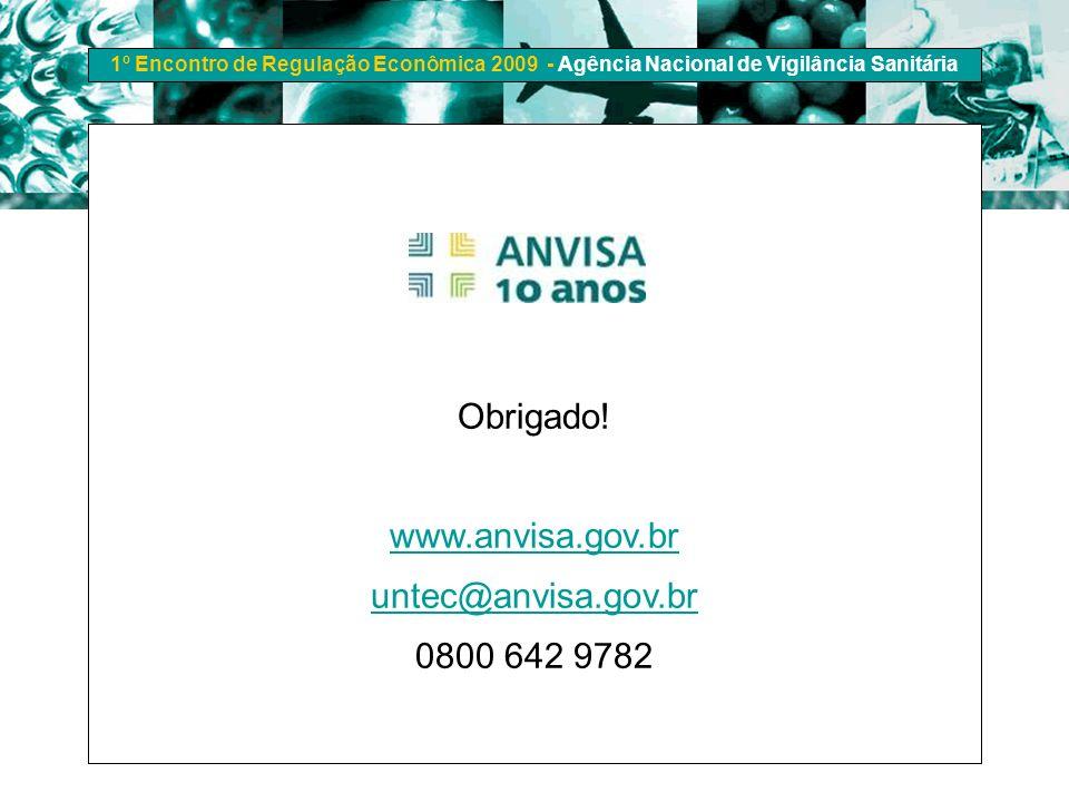 1º Encontro de Regulação Econômica 2009 - Agência Nacional de Vigilância Sanitária Obrigado! www.anvisa.gov.br untec@anvisa.gov.br 0800 642 9782