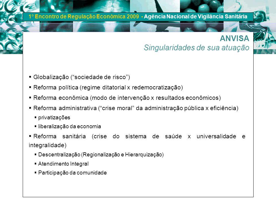 1º Encontro de Regulação Econômica 2009 - Agência Nacional de Vigilância Sanitária Globalização (sociedade de risco) Reforma política (regime ditatori