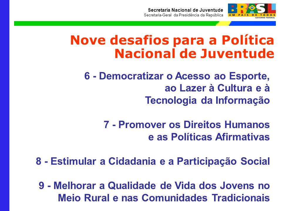 Secretaria Nacional de Juventude Secretaria-Geral da Presidência da República Nove desafios para a Política Nacional de Juventude 6 - Democratizar o A