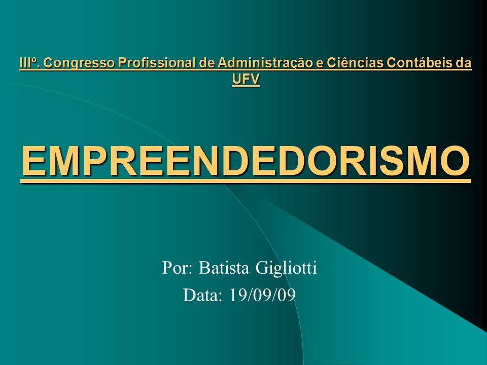 IIIº. Congresso Profissional de Administração e Ciências Contábeis da UFV EMPREENDEDORISMO Por: Batista Gigliotti Data: 19/09/09