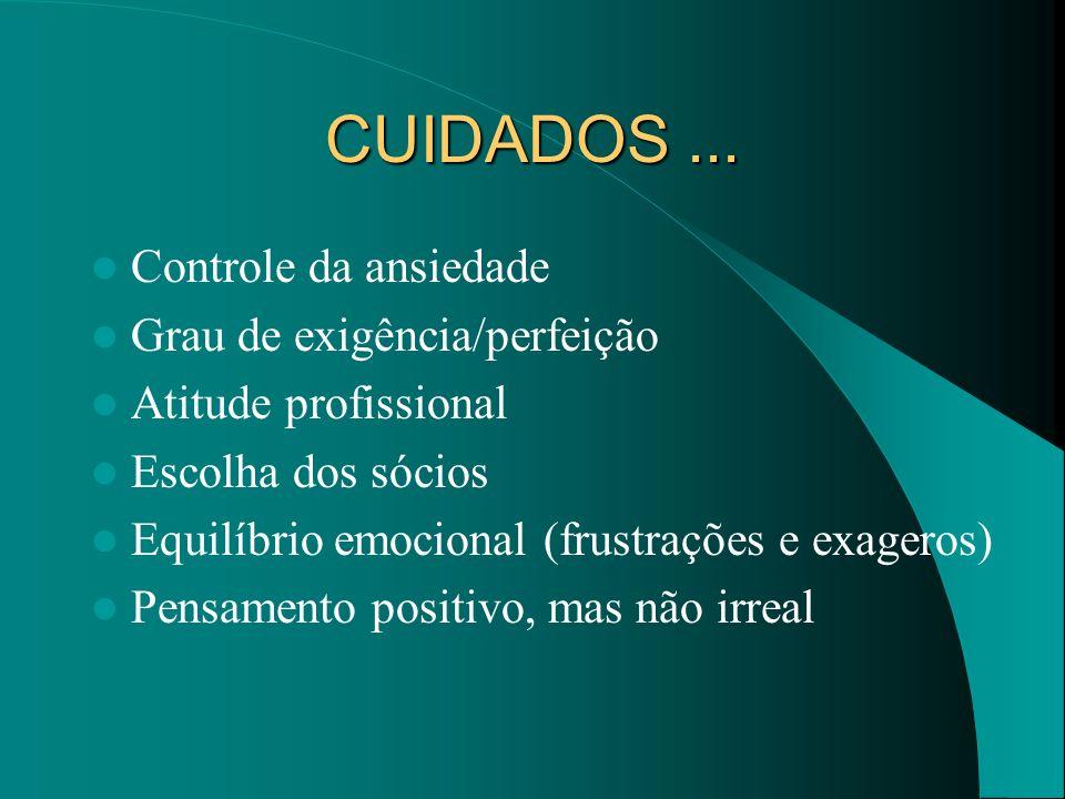 CUIDADOS... Controle da ansiedade Grau de exigência/perfeição Atitude profissional Escolha dos sócios Equilíbrio emocional (frustrações e exageros) Pe