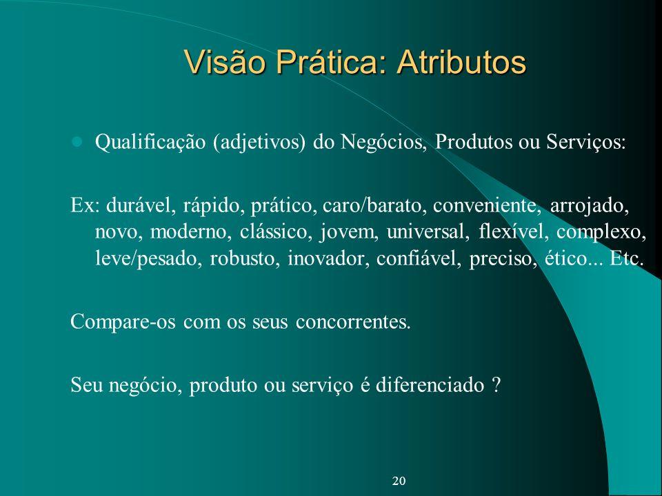 Visão Prática: Atributos Qualificação (adjetivos) do Negócios, Produtos ou Serviços: Ex: durável, rápido, prático, caro/barato, conveniente, arrojado,
