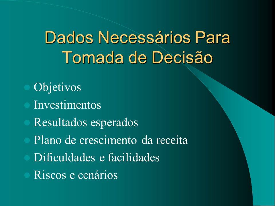 Dados Necessários Para Tomada de Decisão Objetivos Investimentos Resultados esperados Plano de crescimento da receita Dificuldades e facilidades Risco
