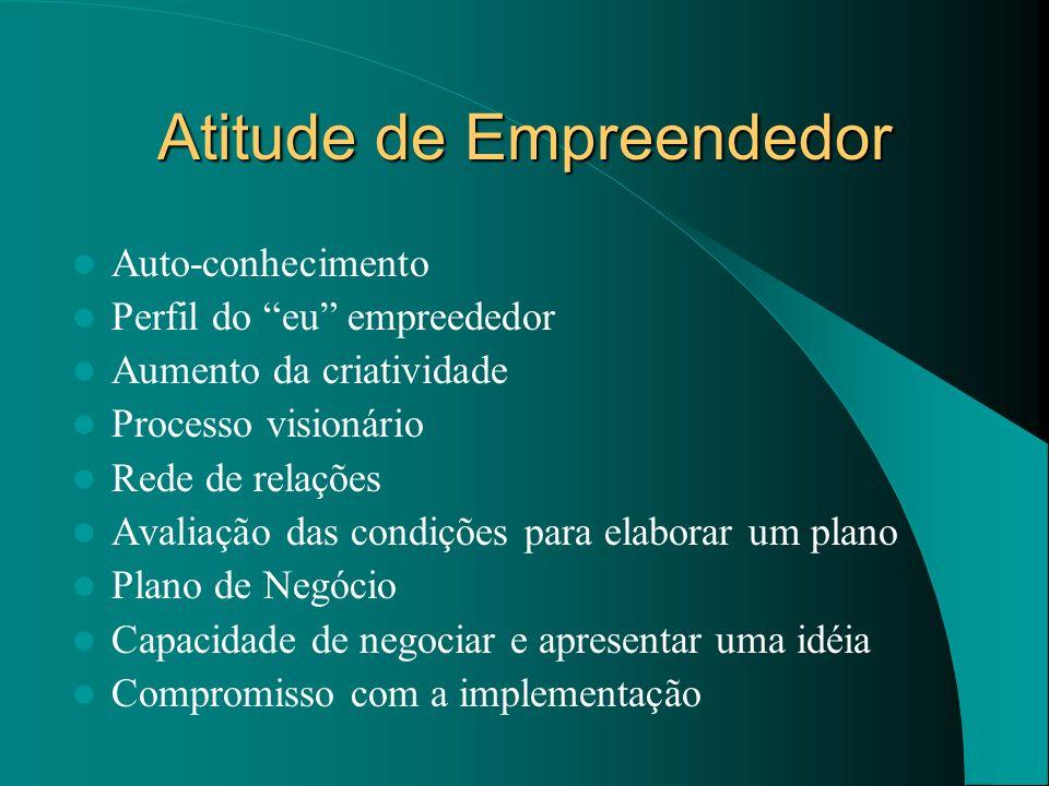 Atitude de Empreendedor Auto-conhecimento Perfil do eu empreededor Aumento da criatividade Processo visionário Rede de relações Avaliação das condiçõe