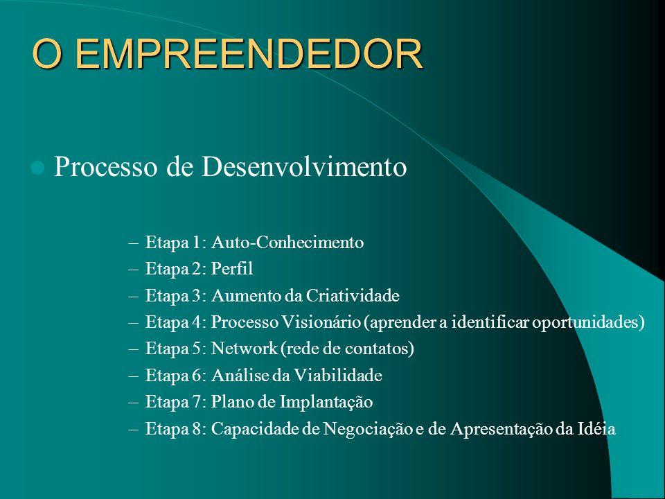 O EMPREENDEDOR Processo de Desenvolvimento –Etapa 1: Auto-Conhecimento –Etapa 2: Perfil –Etapa 3: Aumento da Criatividade –Etapa 4: Processo Visionári