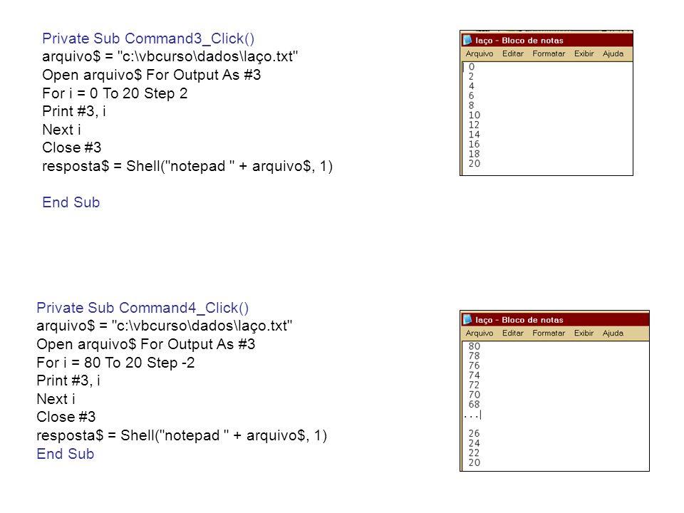 Aplicação – Projeto 18 Private Sub Command2_Click() a$ = Combo1.Text valor = Val(a$) For i = 0 To 10 Step 2 If valor = i Then Label1.Caption = Par Next i For i = 1 To 10 Step 2 If valor = i Then Label1.Caption = Ímpar Next i End Sub Private Sub Command3_Click() a$ = Combo1.Text valor = Val(a$) n = 0 Do While n <= 10 n = n + 2 If valor = n Then Label1.Caption = Par Loop n = 1 Do While n <= 10 n = n + 2 If valor = n Then Label1.Caption = Ímpar Loop End Sub