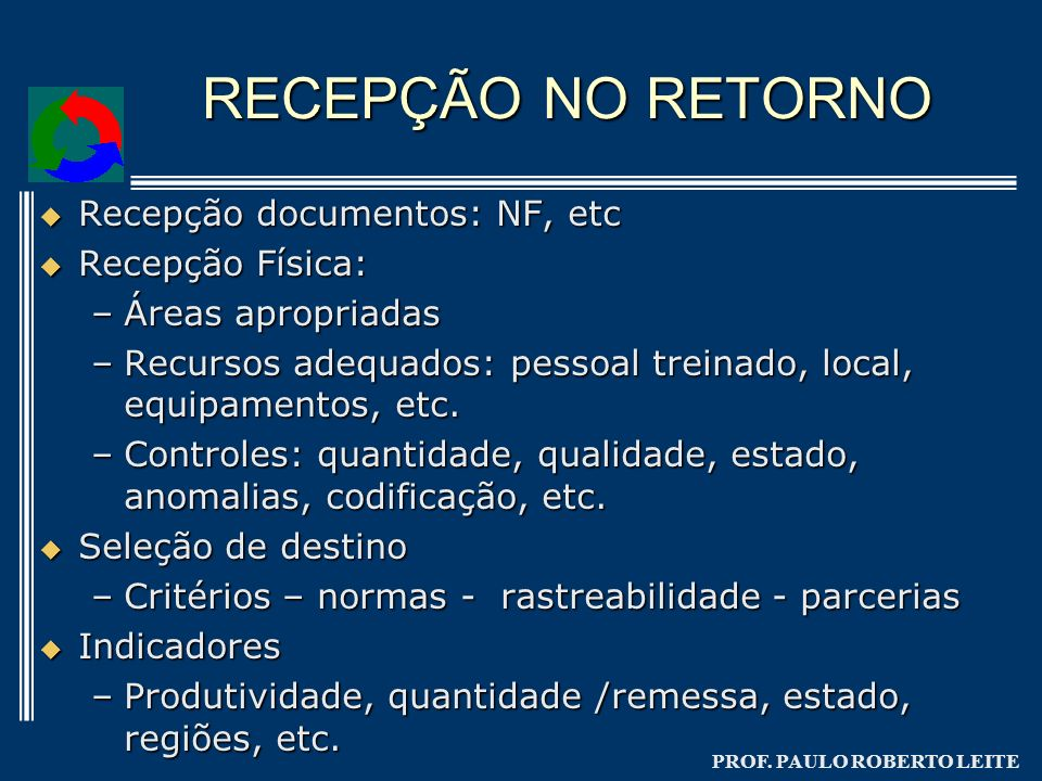 PROF. PAULO ROBERTO LEITE RECEPÇÃO NO RETORNO Recepção documentos: NF, etc Recepção documentos: NF, etc Recepção Física: Recepção Física: –Áreas aprop