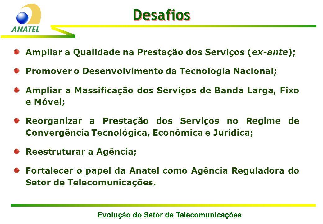 Ampliar a Qualidade na Prestação dos Serviços (ex-ante); Promover o Desenvolvimento da Tecnologia Nacional; Ampliar a Massificação dos Serviços de Ban