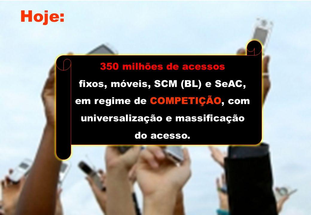 Evolução do Setor de Telecomunicações 350 milhões de acessos fixos, móveis, SCM (BL) e SeAC, em regime de COMPETIÇÃO, com universalização e massificaç