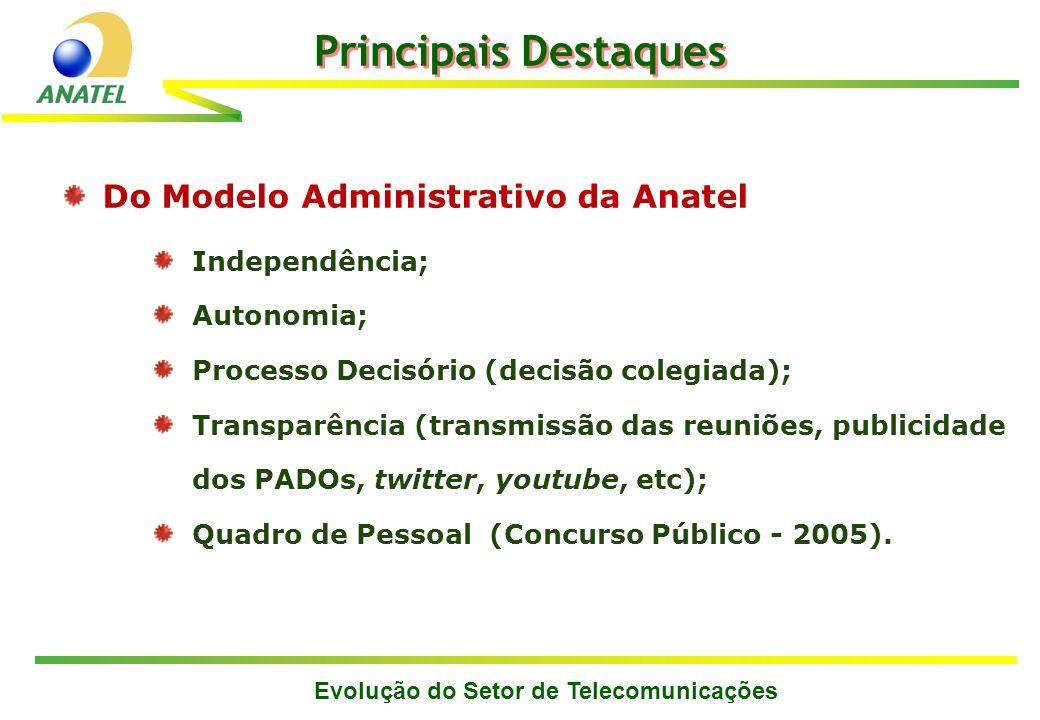 Evolução do Setor de Telecomunicações Principais Destaques Do Modelo Administrativo da Anatel Independência; Autonomia; Processo Decisório (decisão co