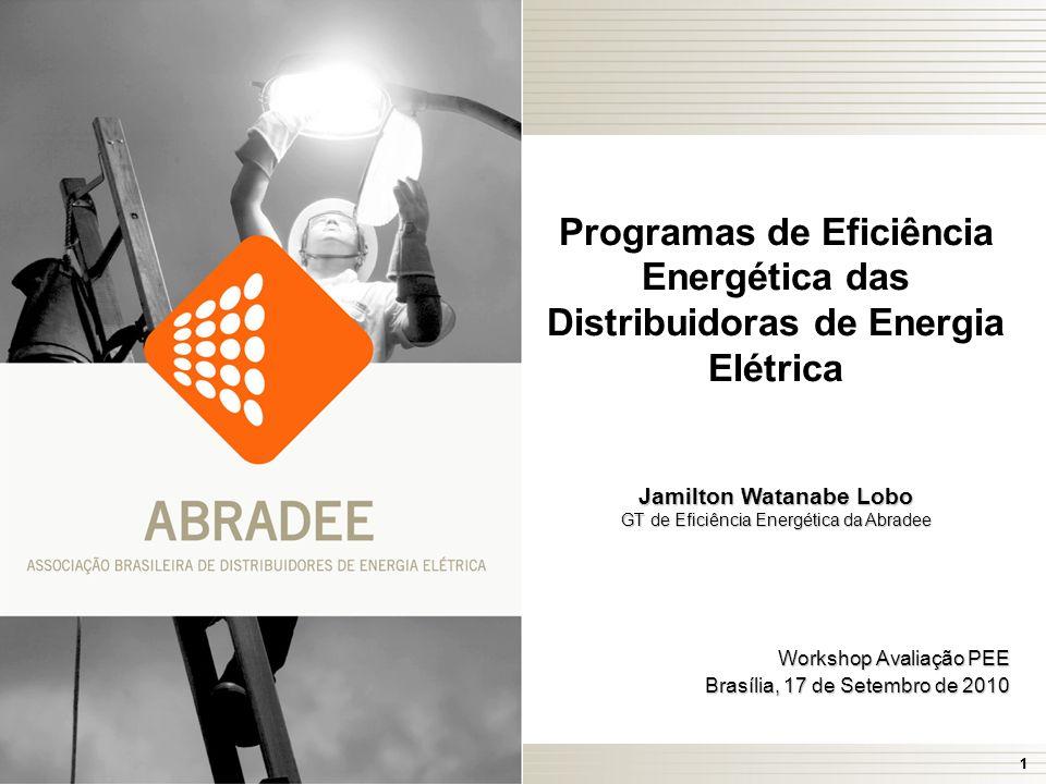 11 Programas de Eficiência Energética das Distribuidoras de Energia Elétrica Jamilton Watanabe Lobo GT de Eficiência Energética da Abradee Workshop Avaliação PEE Brasília, 17 de Setembro de 2010