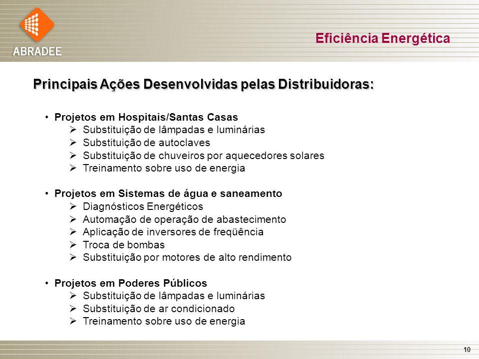 10 Eficiência Energética Principais Ações Desenvolvidas pelas Distribuidoras: Projetos em Hospitais/Santas Casas Substituição de lâmpadas e luminárias