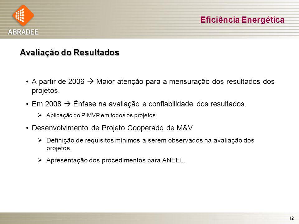 12 Avaliação do Resultados A partir de 2006 Maior atenção para a mensuração dos resultados dos projetos.