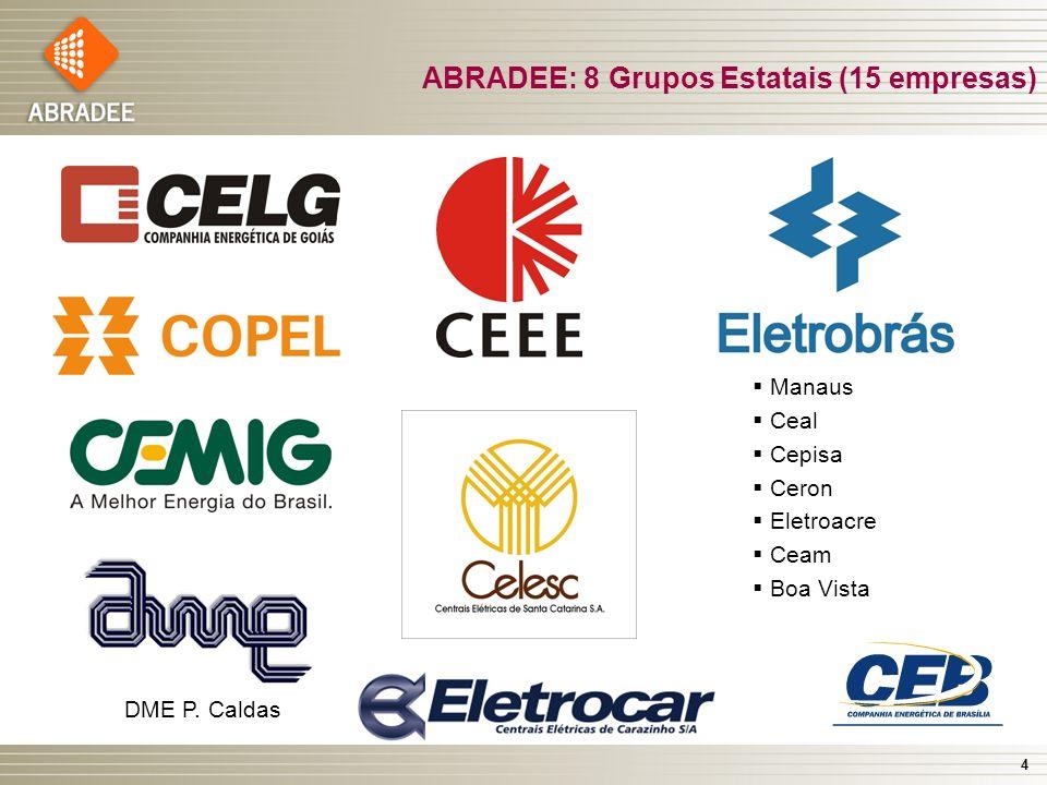 4 ABRADEE: 8 Grupos Estatais (15 empresas) Manaus Ceal Cepisa Ceron Eletroacre Ceam Boa Vista DME P. Caldas Eletrocar
