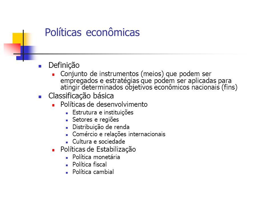Políticas econômicas Definição Conjunto de instrumentos (meios) que podem ser empregados e estratégias que podem ser aplicadas para atingir determinad