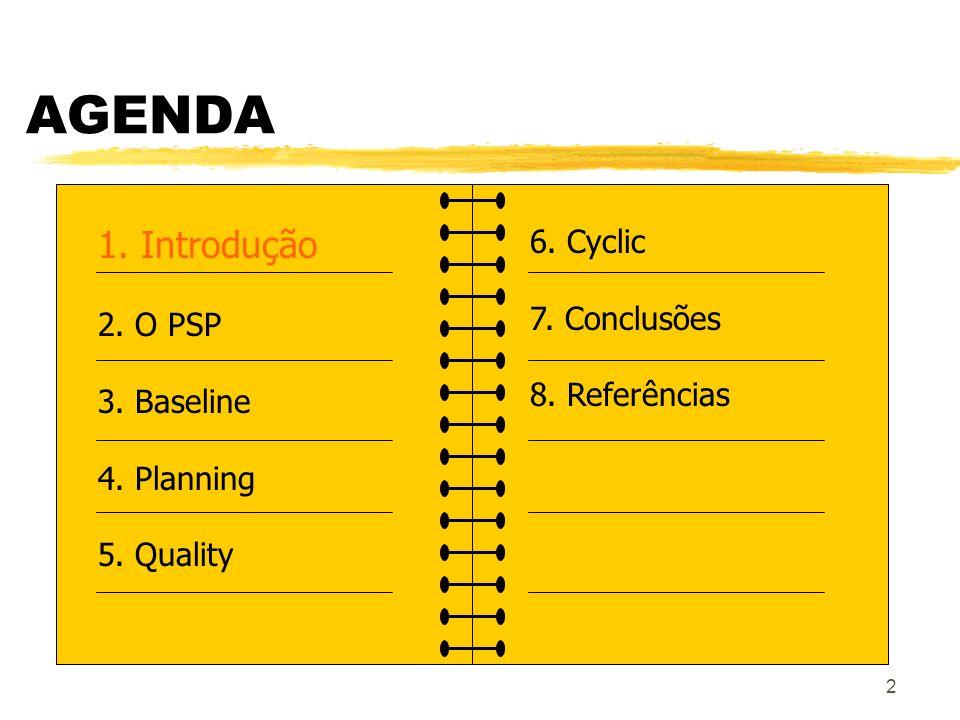 2 AGENDA 1. Introdução 2. O PSP 3. Baseline 4. Planning 5. Quality 6. Cyclic 7. Conclusões 8. Referências