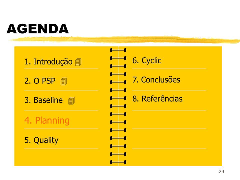 23 AGENDA 1. Introdução 2. O PSP 3. Baseline 4. Planning 5. Quality 6. Cyclic 7. Conclusões 8. Referências