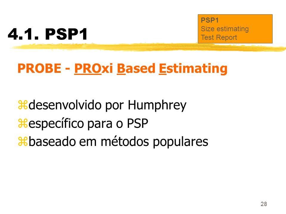 28 4.1. PSP1 PROBE - PROxi Based Estimating zdesenvolvido por Humphrey zespecífico para o PSP zbaseado em métodos populares PSP1 Size estimating Test