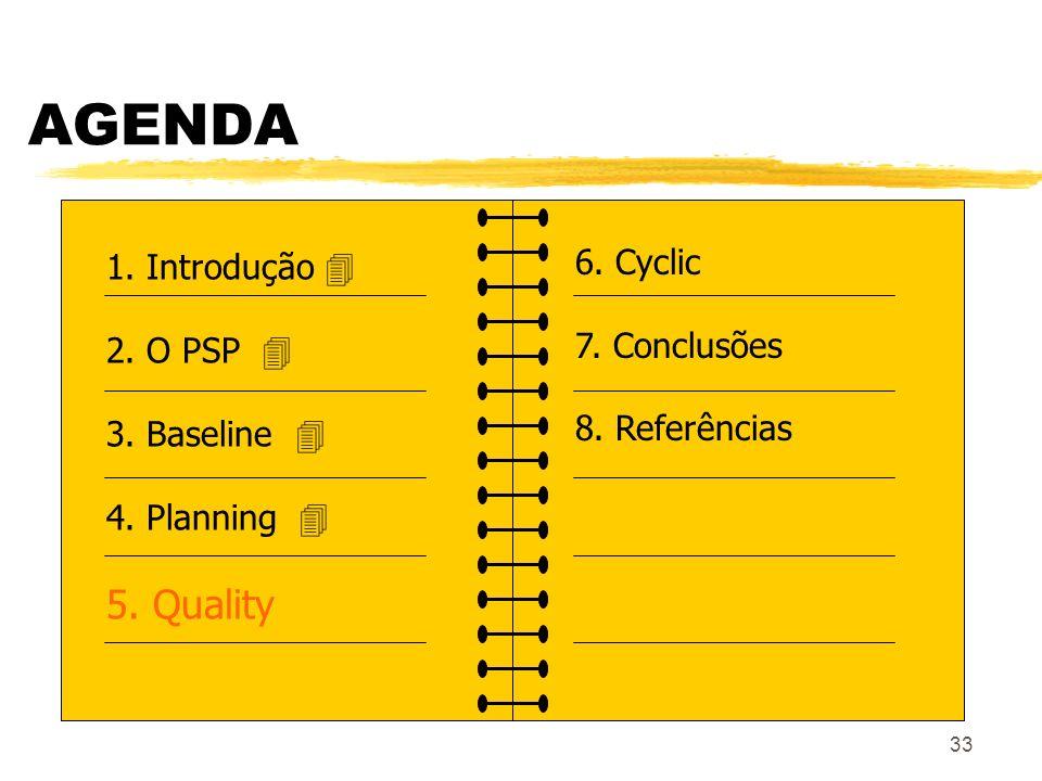 33 AGENDA 1. Introdução 2. O PSP 3. Baseline 4. Planning 5. Quality 6. Cyclic 7. Conclusões 8. Referências