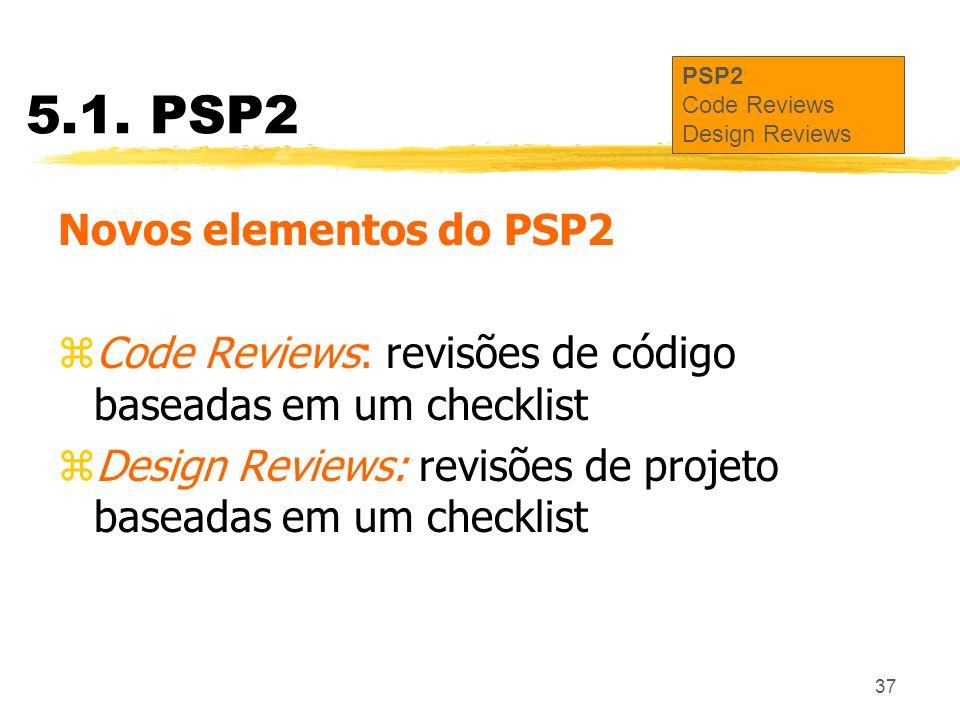 37 5.1. PSP2 Novos elementos do PSP2 zCode Reviews: revisões de código baseadas em um checklist zDesign Reviews: revisões de projeto baseadas em um ch