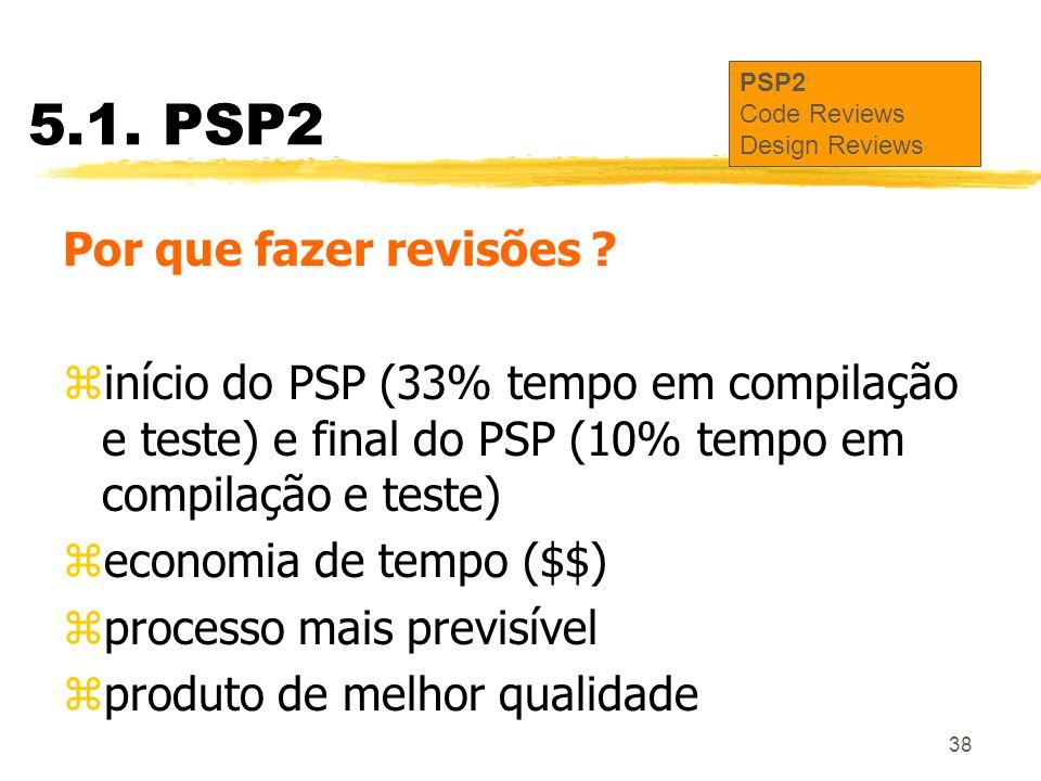 38 5.1. PSP2 Por que fazer revisões ? zinício do PSP (33% tempo em compilação e teste) e final do PSP (10% tempo em compilação e teste) zeconomia de t