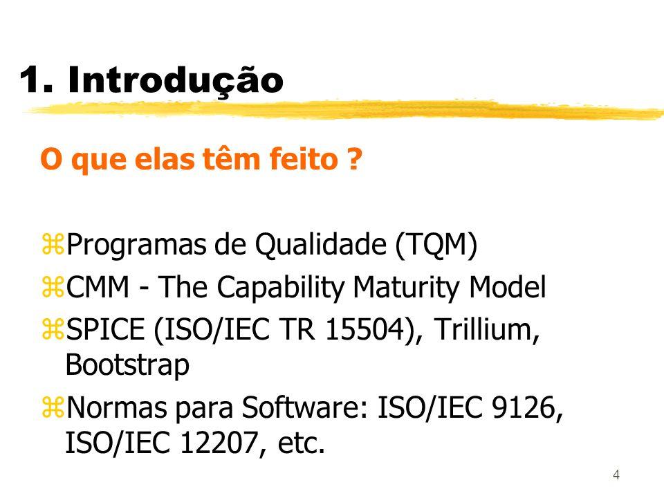 4 1. Introdução O que elas têm feito ? zProgramas de Qualidade (TQM) zCMM - The Capability Maturity Model zSPICE (ISO/IEC TR 15504), Trillium, Bootstr