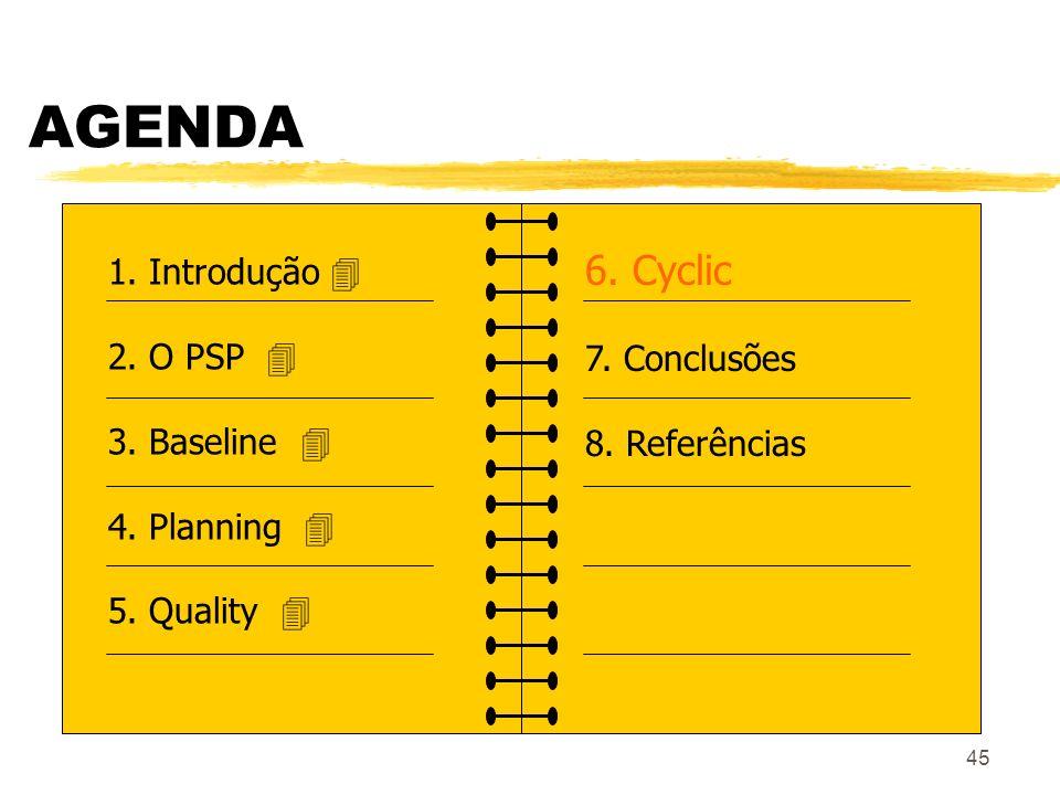 45 AGENDA 1. Introdução 2. O PSP 3. Baseline 4. Planning 5. Quality 6. Cyclic 7. Conclusões 8. Referências