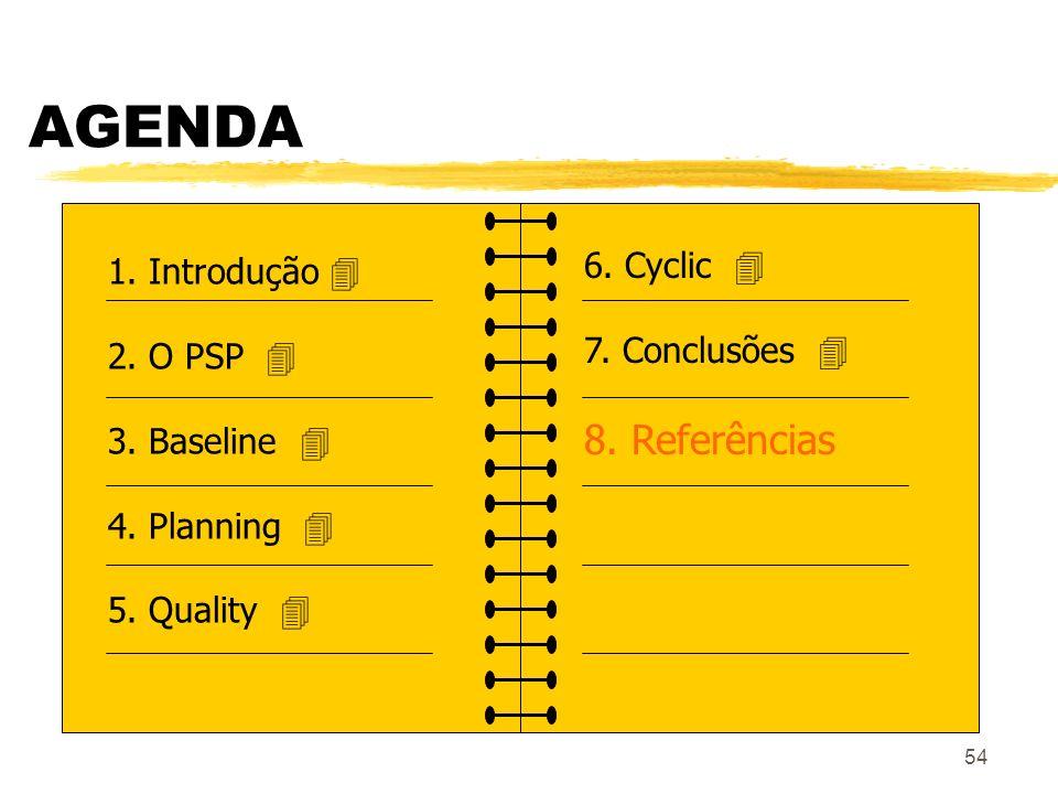54 AGENDA 1. Introdução 2. O PSP 3. Baseline 4. Planning 5. Quality 6. Cyclic 7. Conclusões 8. Referências