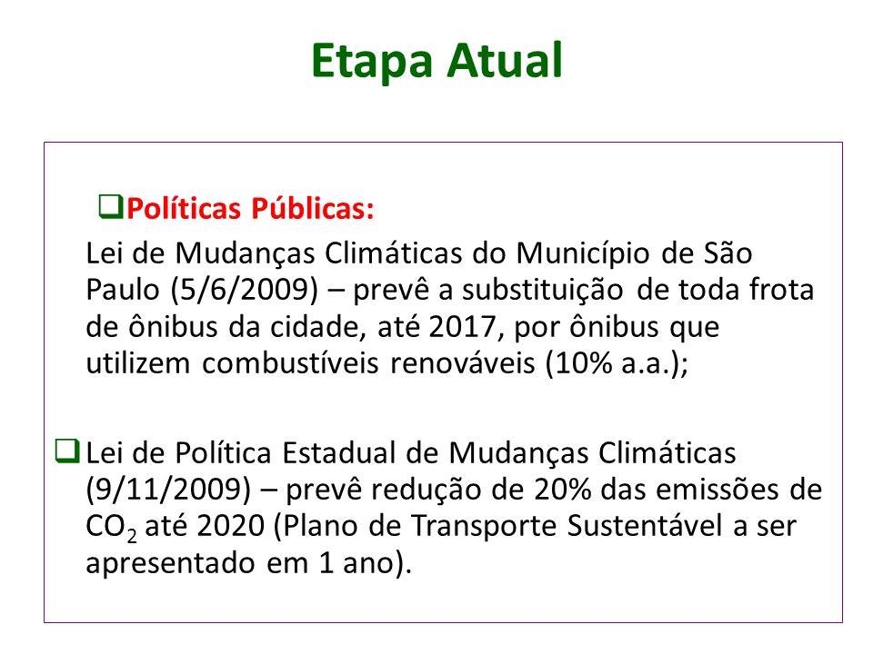 Etapa Atual Políticas Públicas: Lei de Mudanças Climáticas do Município de São Paulo (5/6/2009) – prevê a substituição de toda frota de ônibus da cida