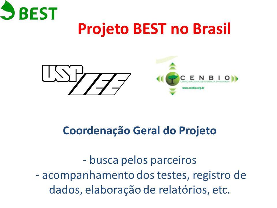 Projeto BEST no Brasil Coordenação Geral do Projeto - busca pelos parceiros - acompanhamento dos testes, registro de dados, elaboração de relatórios,
