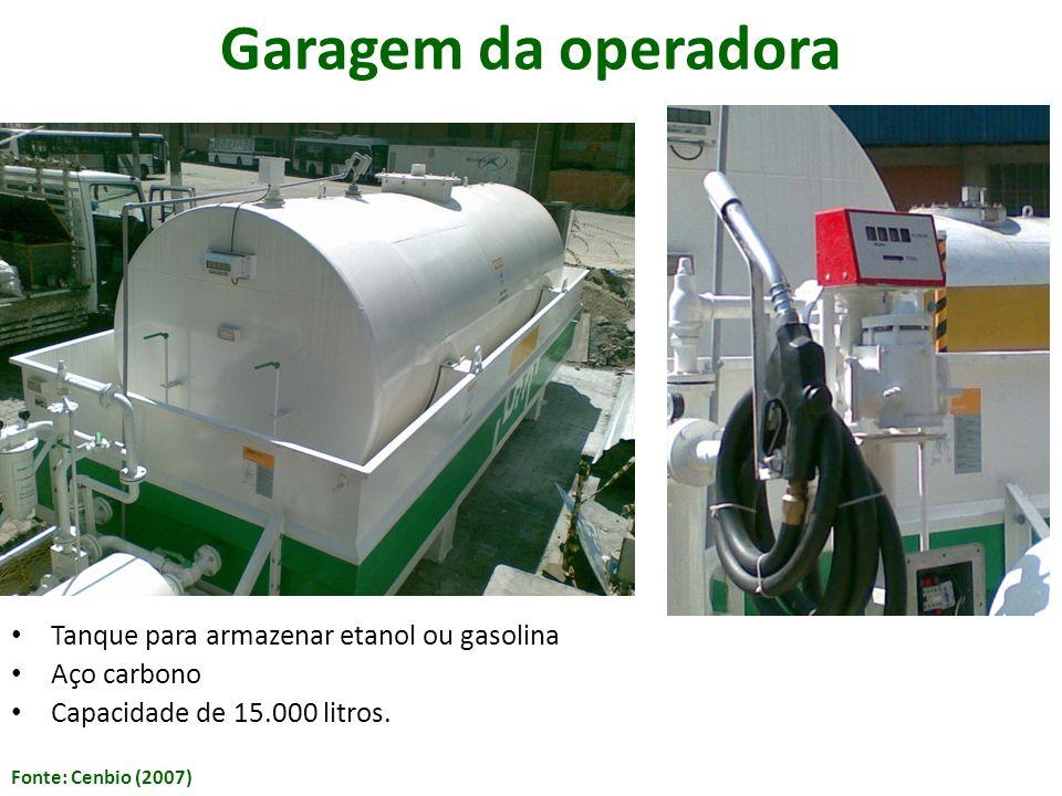 Tanque para armazenar etanol ou gasolina Aço carbono Capacidade de 15.000 litros. Fonte: Cenbio (2007) Garagem da operadora