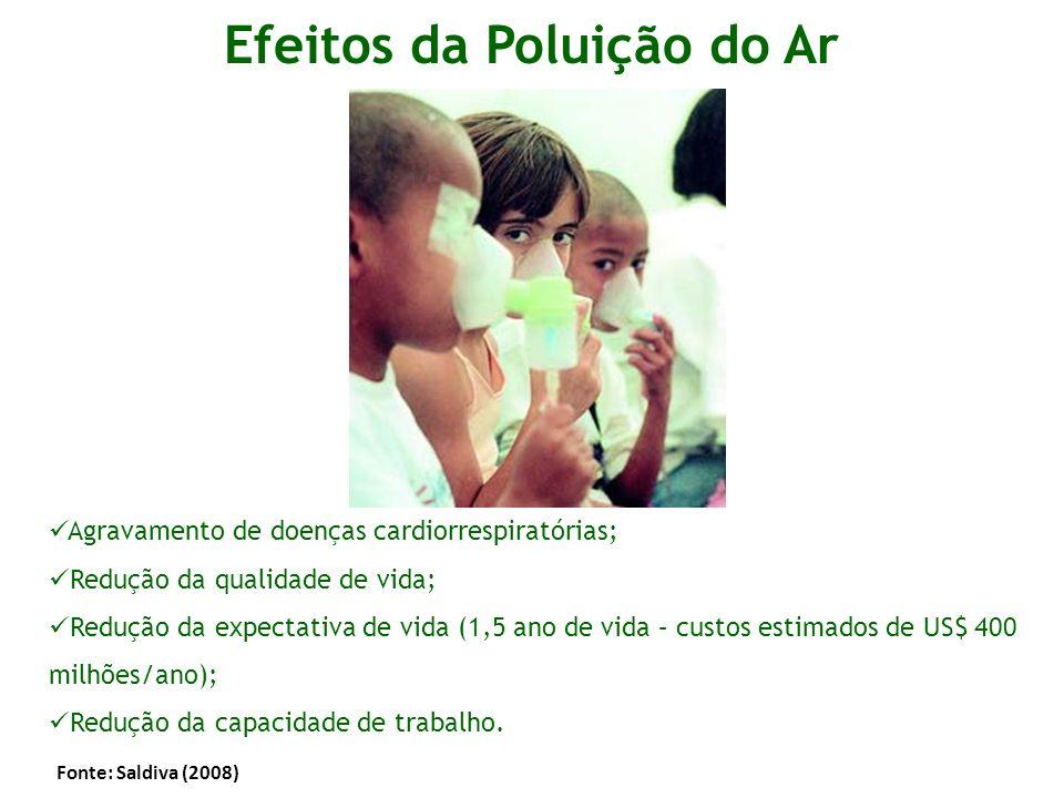 Efeitos da Poluição do Ar Agravamento de doenças cardiorrespiratórias; Redução da qualidade de vida; Redução da expectativa de vida (1,5 ano de vida –