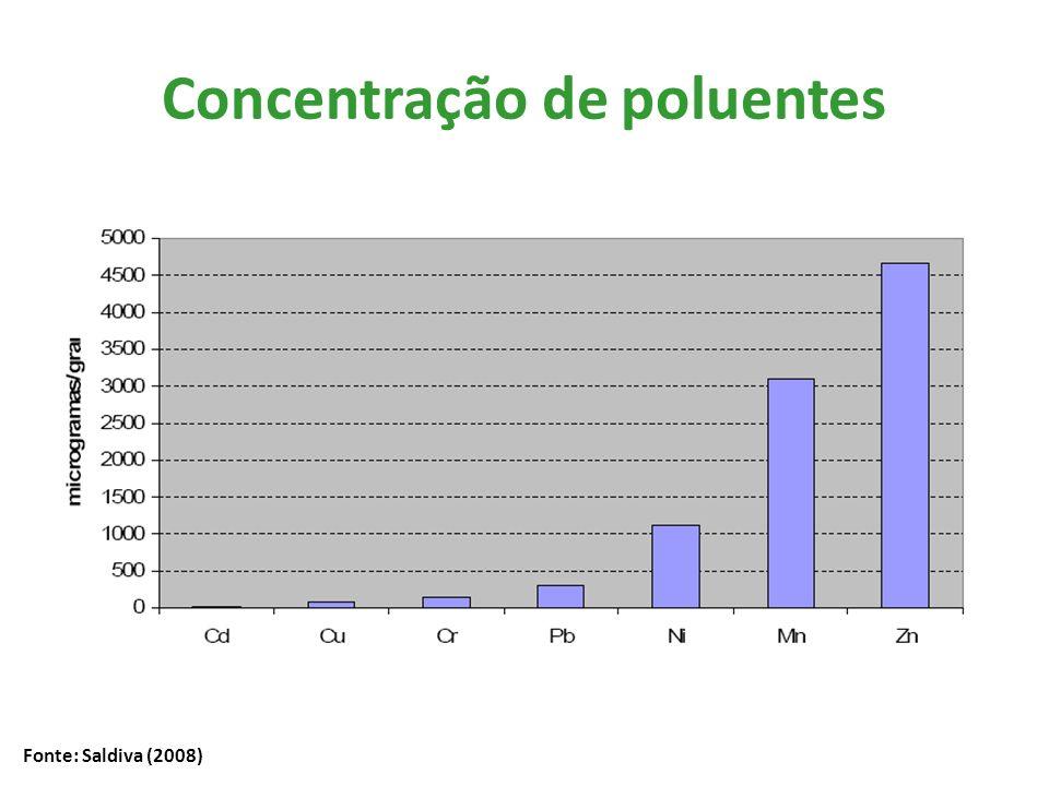 Concentração de poluentes Fonte: Saldiva (2008)