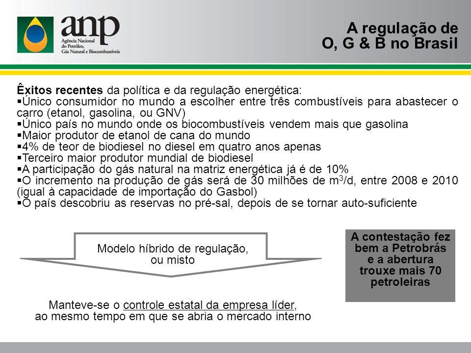A regulação de O, G & B no Brasil Êxitos recentes da política e da regulação energética: Único consumidor no mundo a escolher entre três combustíveis