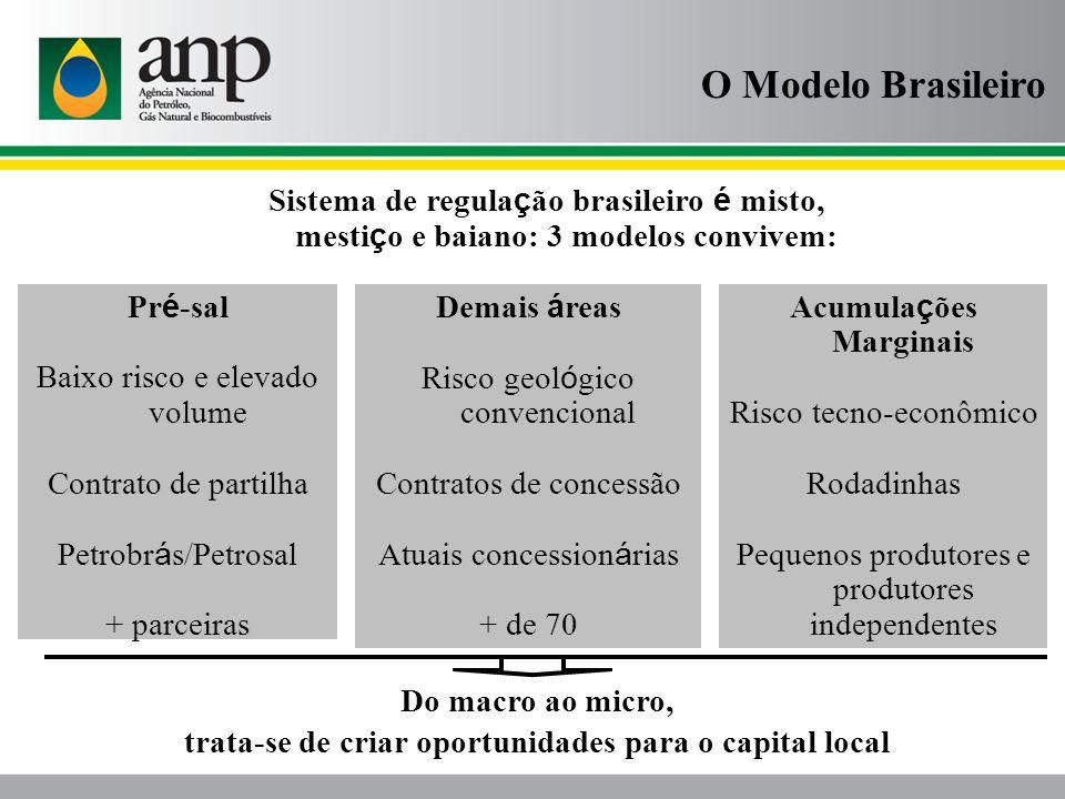 O Modelo Brasileiro Sistema de regula ç ão brasileiro é misto, mesti ç o e baiano: 3 modelos convivem: Pr é -sal Baixo risco e elevado volume Contrato