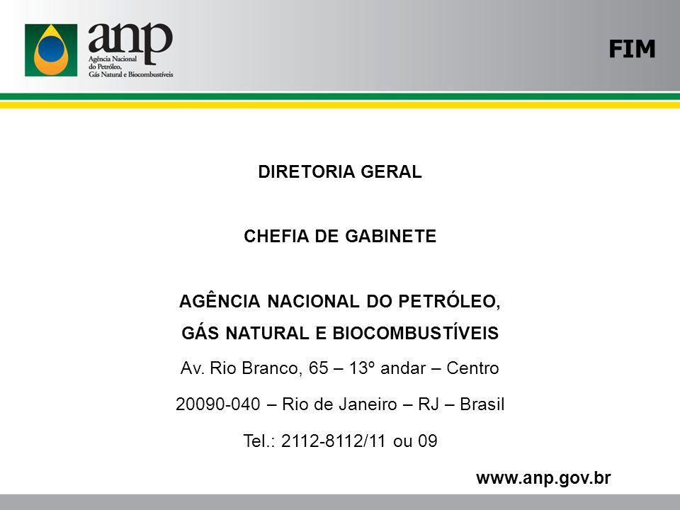 DIRETORIA GERAL CHEFIA DE GABINETE AGÊNCIA NACIONAL DO PETRÓLEO, GÁS NATURAL E BIOCOMBUSTÍVEIS Av. Rio Branco, 65 – 13º andar – Centro 20090-040 – Rio