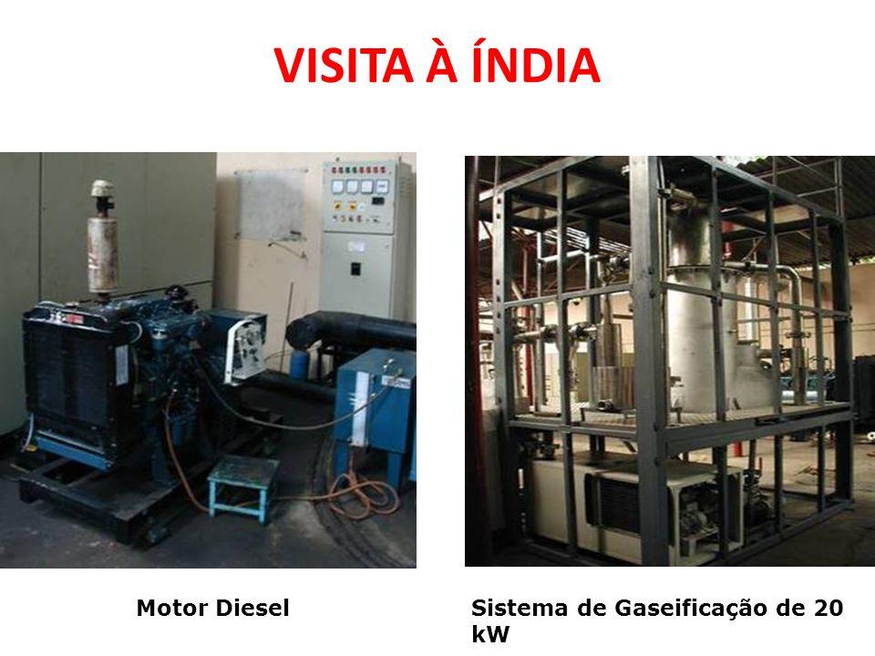 VISITA À ÍNDIA Motor DieselSistema de Gaseificação de 20 kW