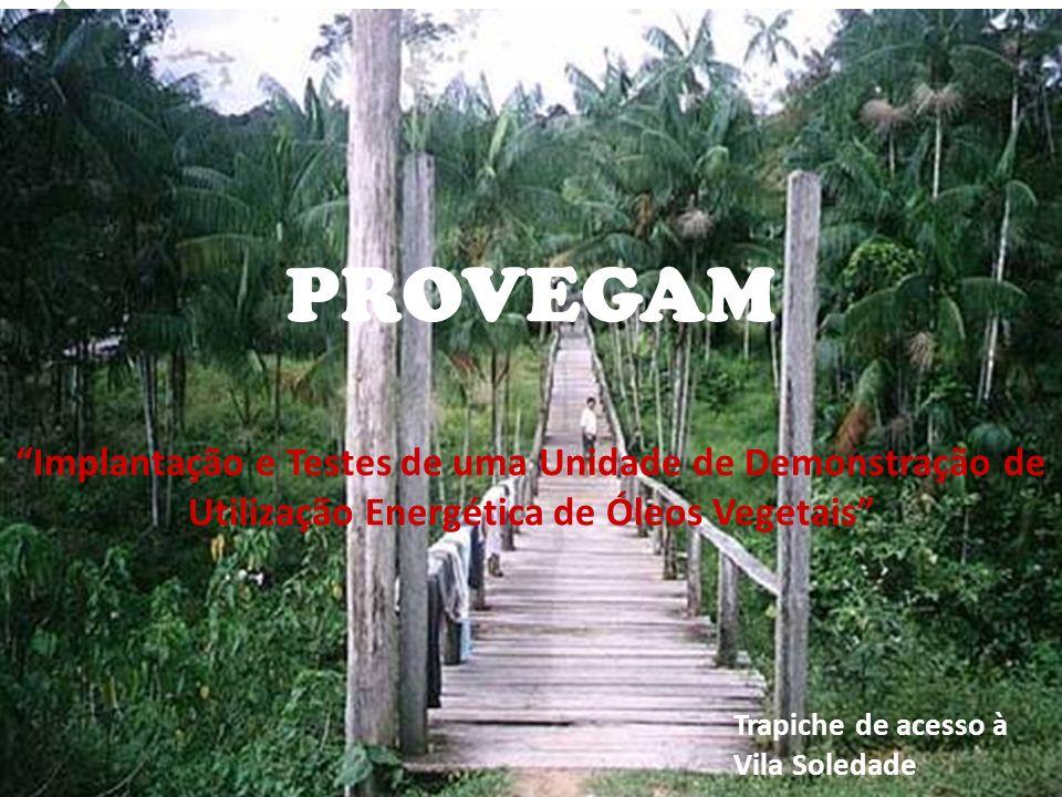 PROVEGAM Implantação e Testes de uma Unidade de Demonstração de Utilização Energética de Óleos Vegetais Trapiche de acesso à Vila Soledade