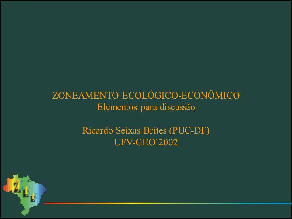 PRODUTOS DO ZEE PRODUTOS TÉCNICOS Produto Síntese de Orientação à Ocupação Produtos Temáticos Bases Cartográficas Banco de Dados Georeferenciados PRODUTOS ORIENTADOS A POLÍTICAS PÚBLICAS Indicação de Diretrizes Físico-Territoriais relativas ao Ordenamento Indicação de Planos, Programas e Projetos Indicação de Legislação Suplementar