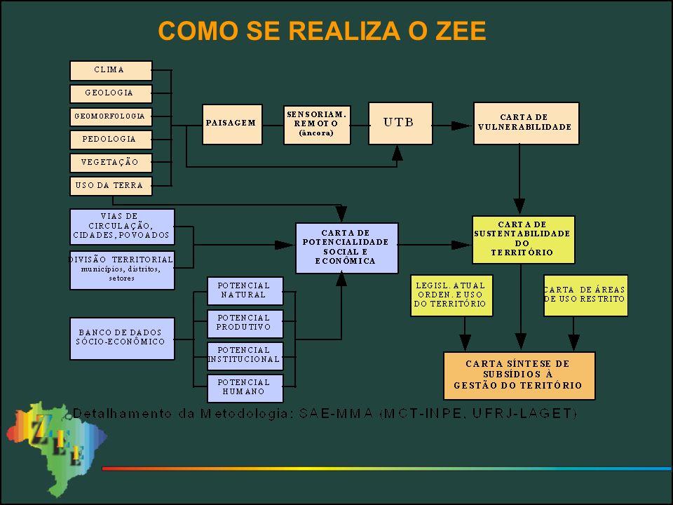 PROBLEMAS DETECTADOS 1 – ZEE parciais em áreas escolhidas por critérios os mais variados, sem uniformização 2 – Descontinuidade e sobreposição de áreas Áreas contínuas: Bacia do Alto Paraguai: 361mil km 2 Rondônia: 238 mil km 2 3 – Diferentes metodologias: SAE-PR/MMA, PRODEAGRO, IBGE, PANTANAL, EMBRAPA 4 – Estudos realizados em diferentes épocas ao longo de 10 anos com impossibilidade de compará-los 5 – Perda de dados por caducidade, por extravio, por falta de divulgação