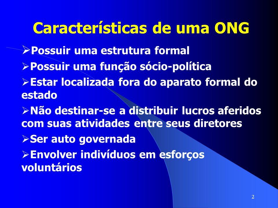 2 Características de uma ONG Possuir uma estrutura formal Possuir uma função sócio-política Estar localizada fora do aparato formal do estado Não dest