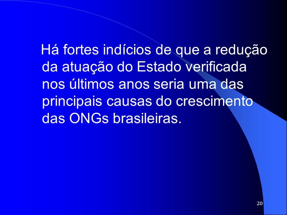 20 Há fortes indícios de que a redução da atuação do Estado verificada nos últimos anos seria uma das principais causas do crescimento das ONGs brasil