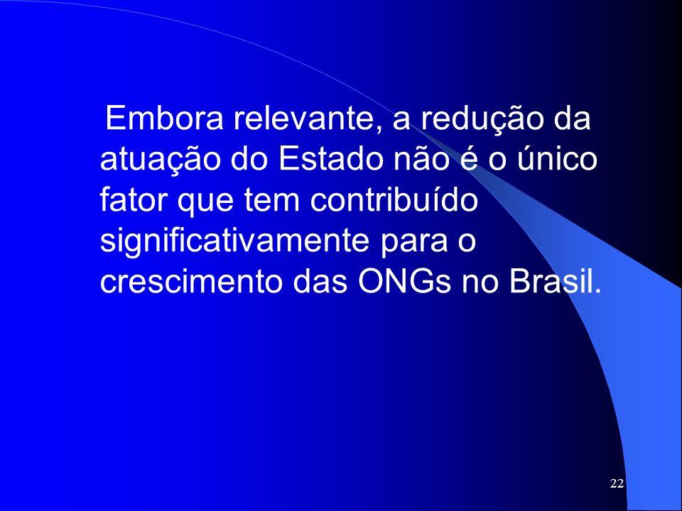 22 Embora relevante, a redução da atuação do Estado não é o único fator que tem contribuído significativamente para o crescimento das ONGs no Brasil.