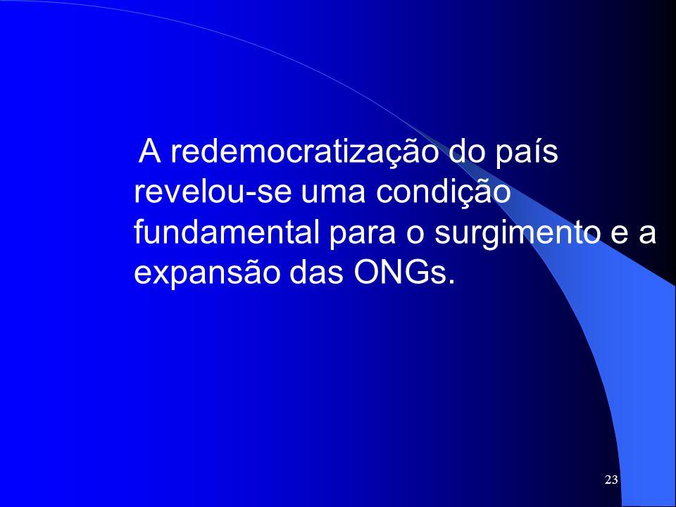 23 A redemocratização do país revelou-se uma condição fundamental para o surgimento e a expansão das ONGs.