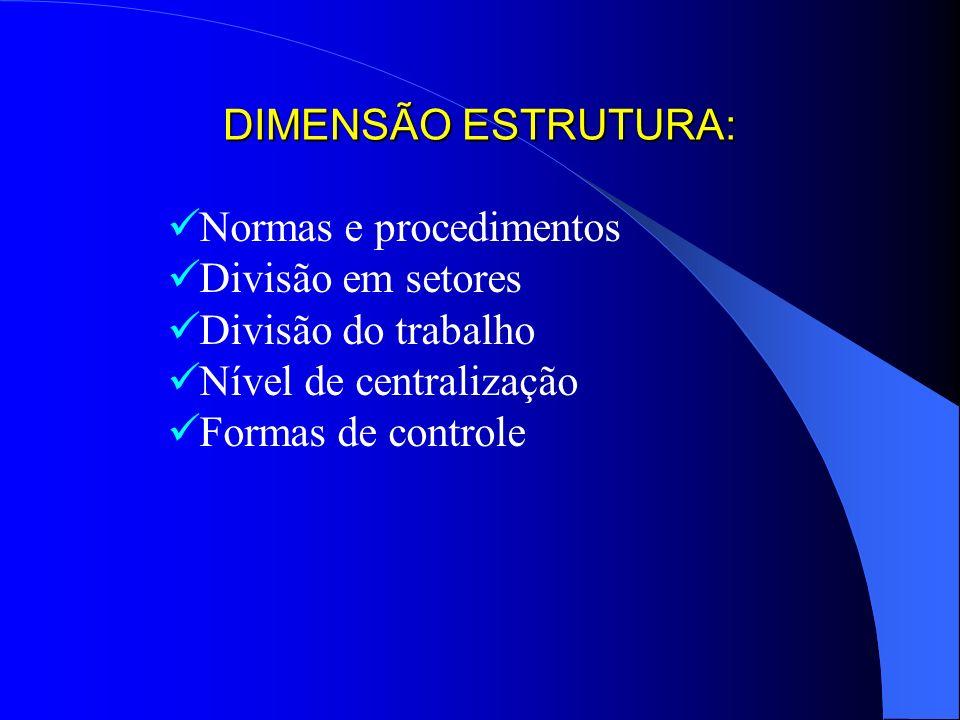 DIMENSÃO ESTRUTURA: Normas e procedimentos Divisão em setores Divisão do trabalho Nível de centralização Formas de controle