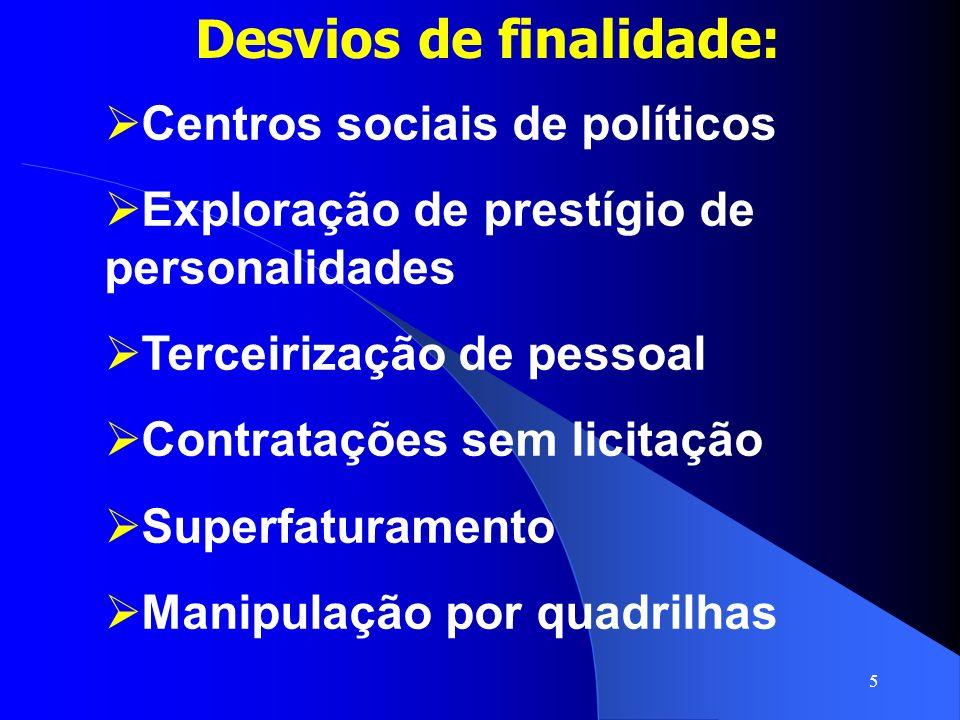 5 Desvios de finalidade: Centros sociais de políticos Exploração de prestígio de personalidades Terceirização de pessoal Contratações sem licitação Su