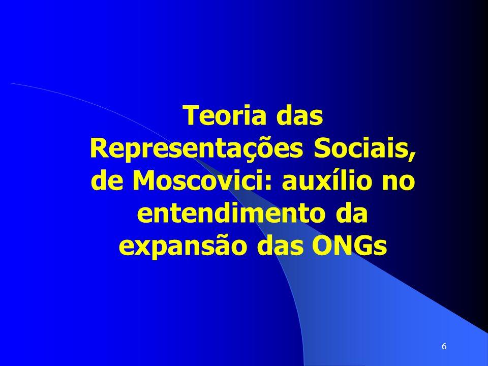 27 A representação social de ONGs pelos formadores de opinião é extremamente positiva, o que facilita a expansão dessas organizações.