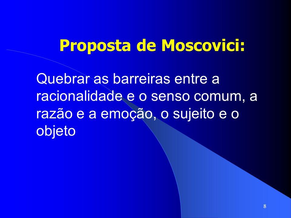 8 Proposta de Moscovici: Quebrar as barreiras entre a racionalidade e o senso comum, a razão e a emoção, o sujeito e o objeto