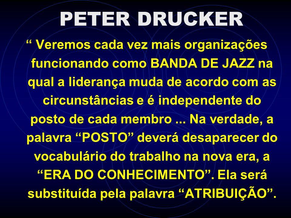 PETER DRUCKER Veremos cada vez mais organizações funcionando como BANDA DE JAZZ na qual a liderança muda de acordo com as circunstâncias e é independe