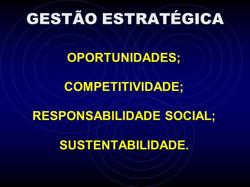 GESTÃO ESTRATÉGICA OPORTUNIDADES; COMPETITIVIDADE; RESPONSABILIDADE SOCIAL; SUSTENTABILIDADE.